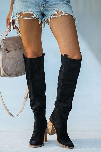 Faux Suede Chunky Heel Tall Boots - girlyrose.com