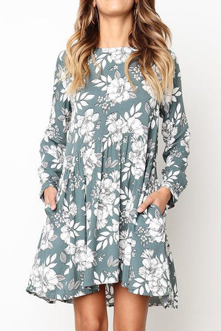 Pocket Floral Print Long Sleeve Dress - girlyrose.com
