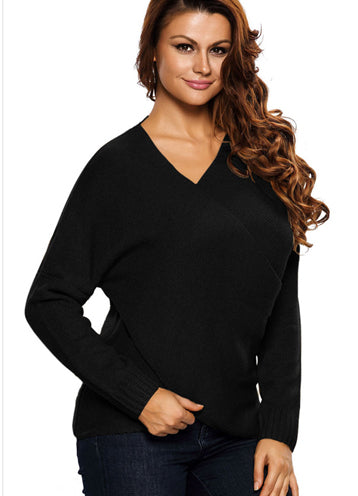 Irregular Deep V Wrapped Casual Sweater