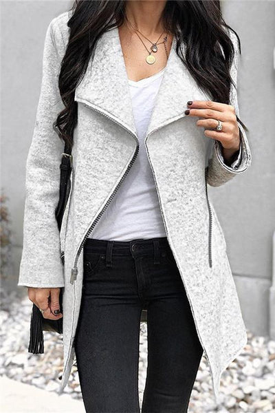 Irregular Zipper Closure Coat - girlyrose.com