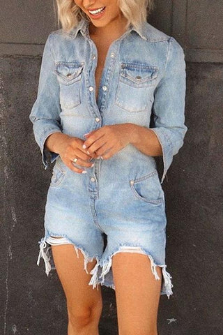 Tassels Button Turndown Collar Denim Romper - girlyrose.com