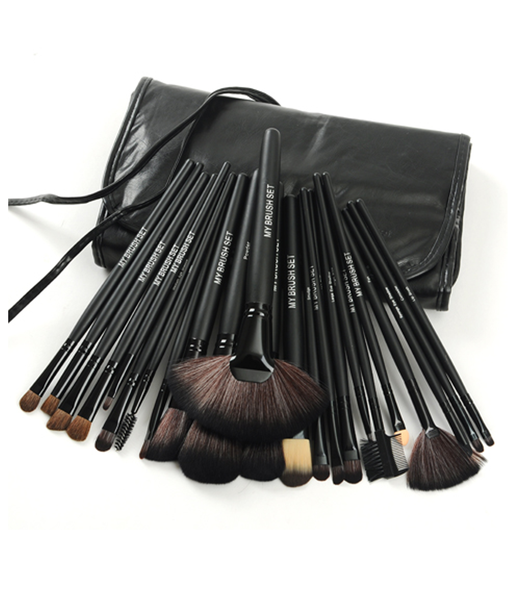 24 Piece Jet Black Make Up Brush Set with Free Case