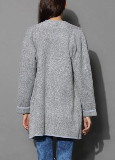 Just Knitted Open Coat in Grey - girlyrose.com