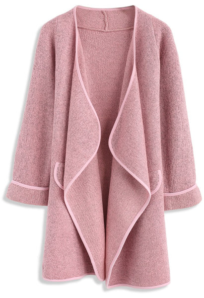 Just Knitted Open Coat in Pink - girlyrose.com