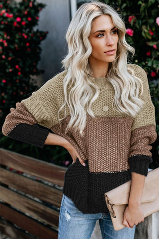 Khaki Color Block Netted Texture Pullover Sweater - girlyrose.com