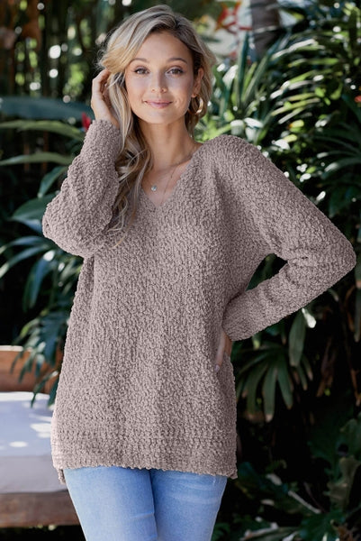 Khaki V Neck Popcorn Texture Loose Fit Sweater