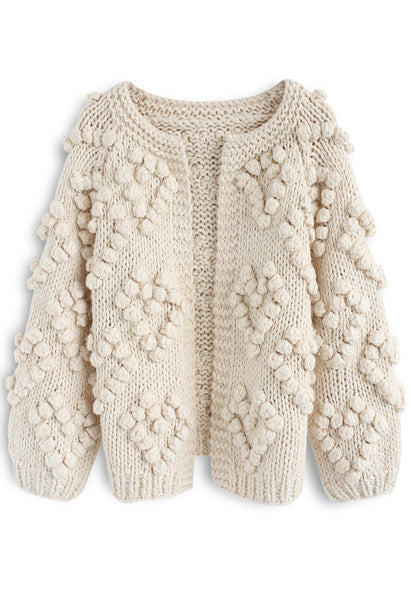 Knit Your Love Cardigan in Ivory - girlyrose.com