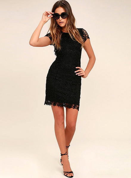 Lace Backless Bodycon Party Mini Dress