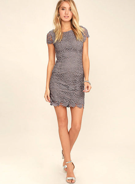 Lace Backless Bodycon Party Mini Dress - girlyrose.com
