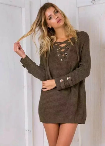 Lace Up V Neck Long Sleeve Pullover Long Sweater - girlyrose.com