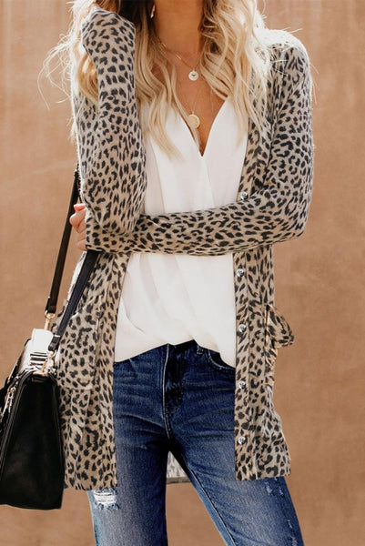 Leopard Print Button Down Cardigan - girlyrose.com