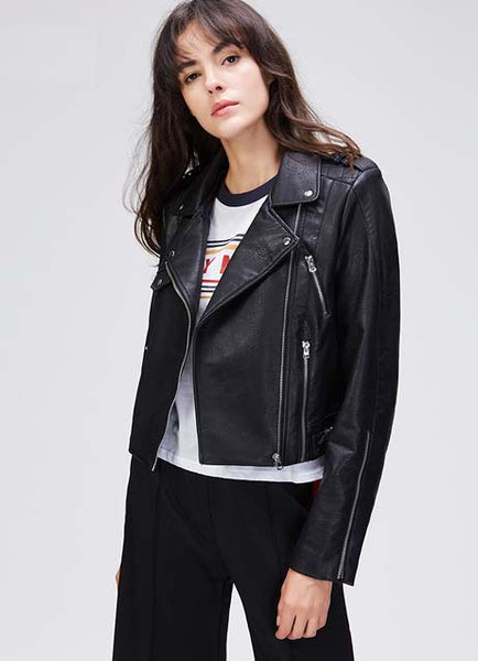 Live it up black vegan leather jacket - girlyrose.com