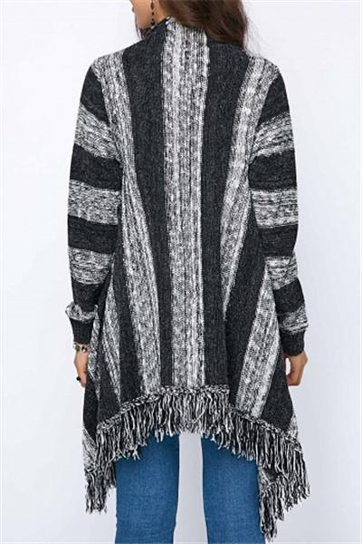Loose Striped Cardigan - girlyrose.com