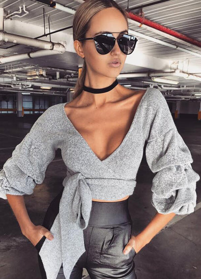 Low Cut Bandage Cropped Loose Sweater