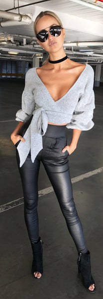Low Cut Bandage Cropped Loose Sweater - girlyrose.com