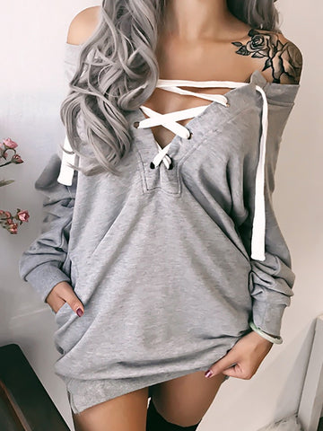 Low Cut Lace-up Pocket Casual Sweatshirt