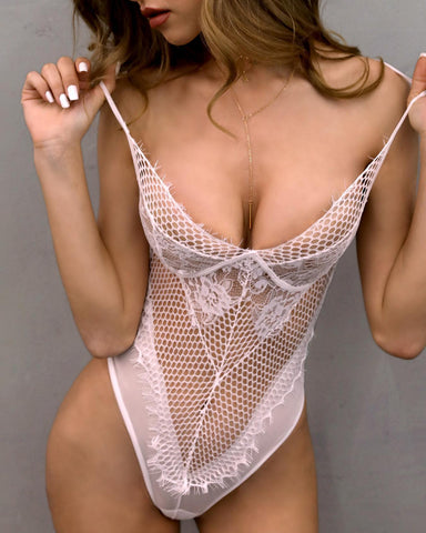Low Cut Pierced Mesh Lace Lingerie - girlyrose.com