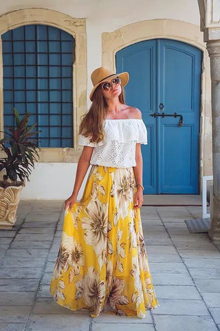 Marvelous Floral Maxi Skirt in Yellow - girlyrose.com