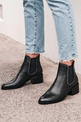 Leather Elastic Studded Ankle Boots - girlyrose.com