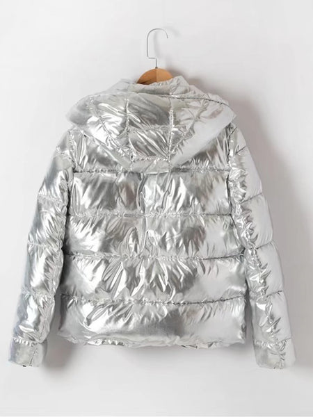 Metallic Quilted Padded Coat With Hood
