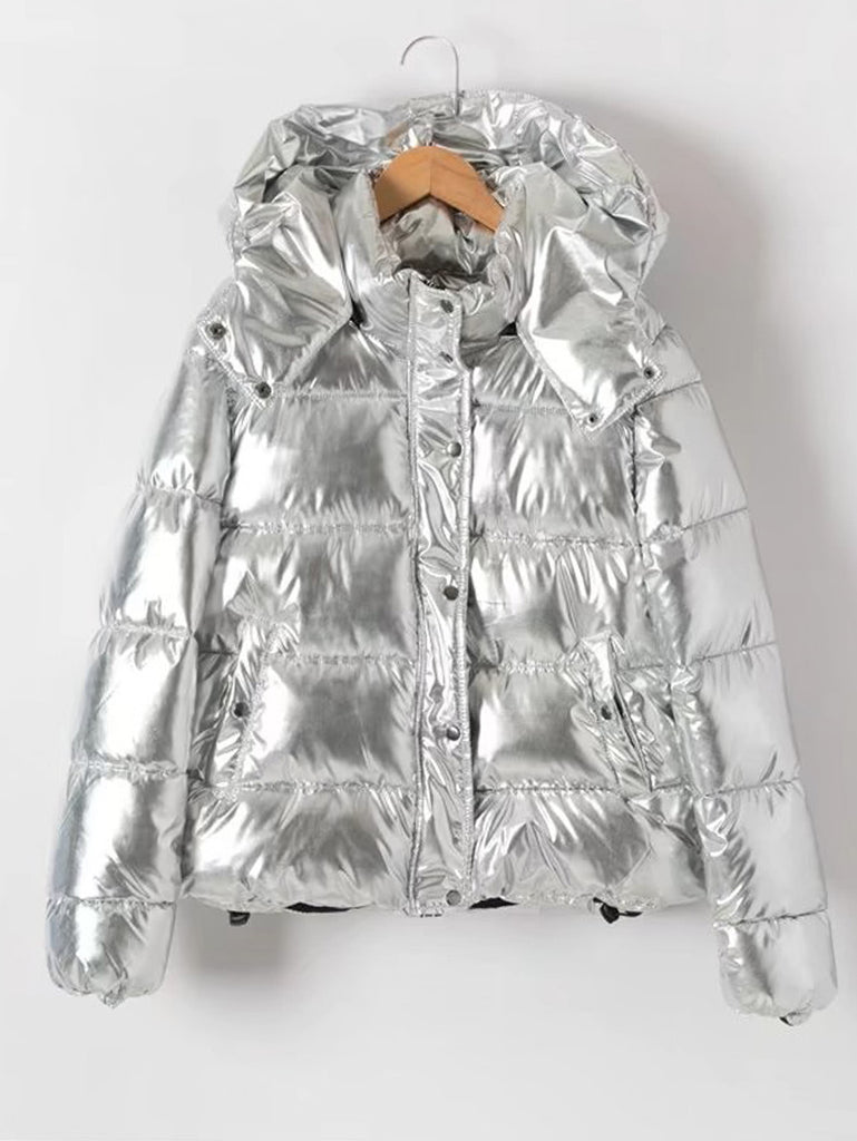 Metallic Quilted Padded Coat With Hood - girlyrose.com