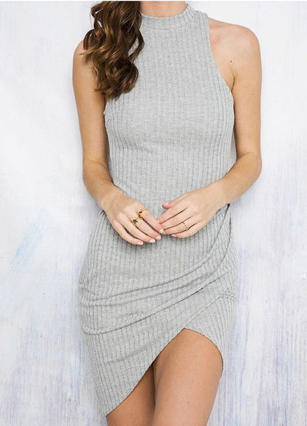 Mock Neck Sleeveless Irregular Bodycon Dress - girlyrose.com