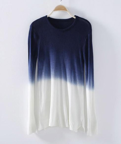 Multicolor Tie Dye Knitted Loose Sweater