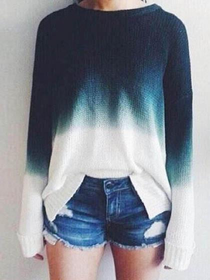 Multicolor Tie Dye Knitted Loose Sweater - girlyrose.com
