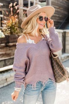 New purple Pullover knitted cashmere sweater - girlyrose.com