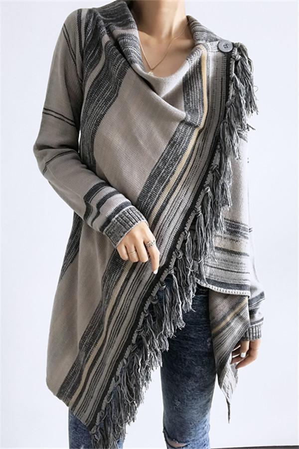 Newest Single Button Tassel Asymmetrical Hem Shawl - girlyrose.com