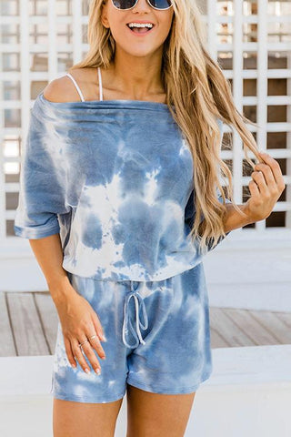 Tie Dye Short Sleeve Drawstring Short Set - girlyrose.com