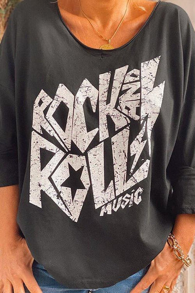 Rock Print Loose T Shirt - girlyrose.com