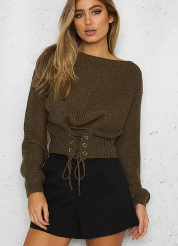 Off Shoulder Lightweight Chunky Sweater - girlyrose.com