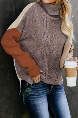 Orange Colorblock Cable Knit Sweater - girlyrose.com