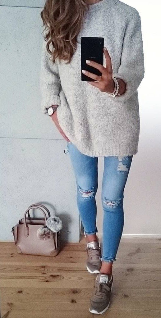 a3a0922b2 Oversized Scoop Neck Loose Fit Chunky Knit Sweater – girlyrose.com