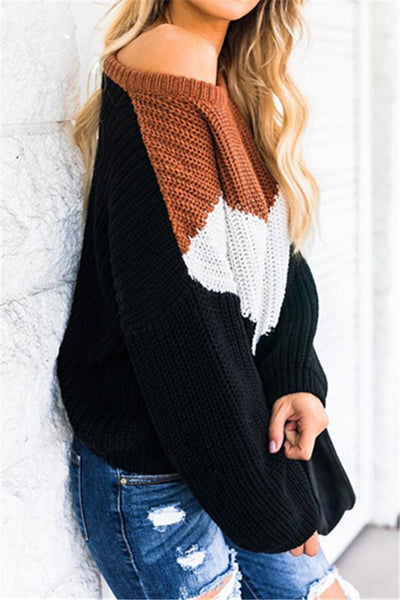Patchwork Loose Sweater