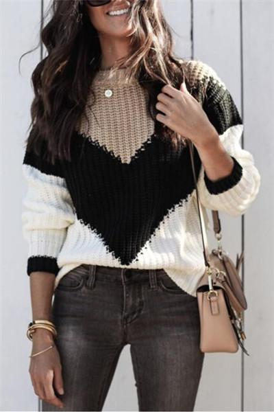 Patchwork Loose Sweater - girlyrose.com