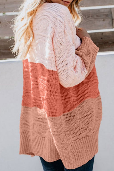 Pink Colorblock Knit Cardigan - girlyrose.com