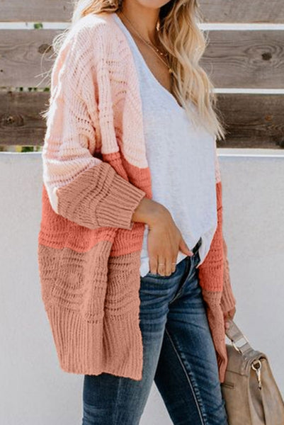 Pink Colorblock Knit Cardigan