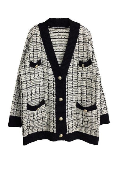 Pockets Button Plaid Cardigan - girlyrose.com