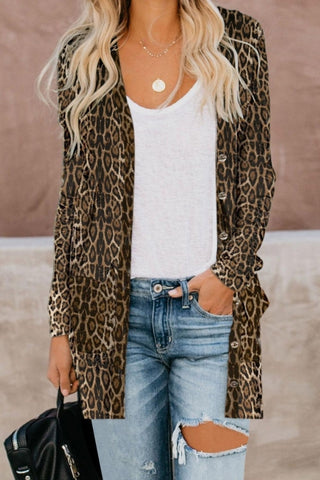 Print Button Down Cardigan - girlyrose.com