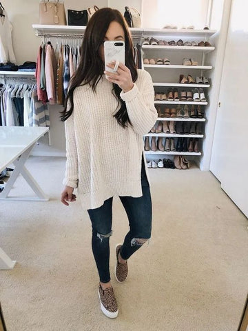 Pullover Knit Sweater - girlyrose.com