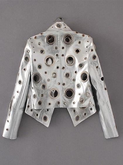 Punk Rivets Hollow Out Ladies Motorcycles Jacket - girlyrose.com