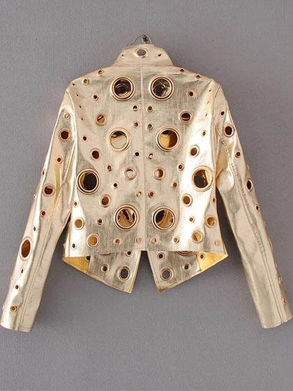 Punk Rivets Hollow Out Ladies Motorcycles Jacket