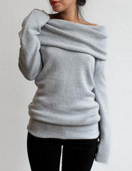 Pure Color Off Shoulder Side Split Dipped Hem Knit Jumper - girlyrose.com