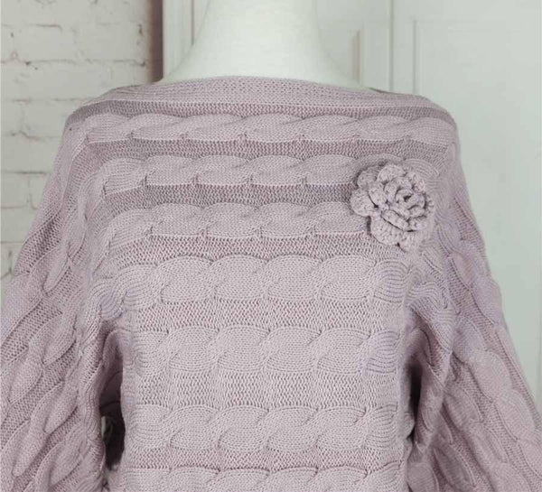 Pure Color Rose Knit Bell Sleeve Sweater - girlyrose.com