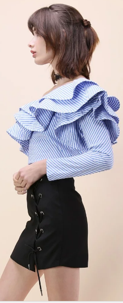 One Shoulder Flounce Trim Striped Blouse - girlyrose.com