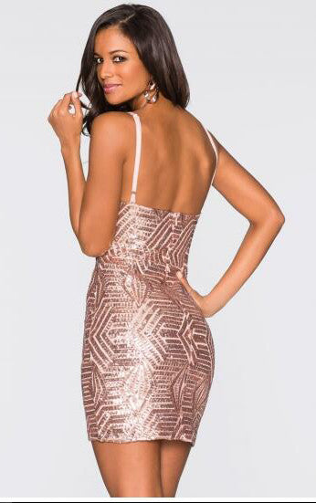 Pink Spaghetti Strap V Neck Bodycon Night Club Dress
