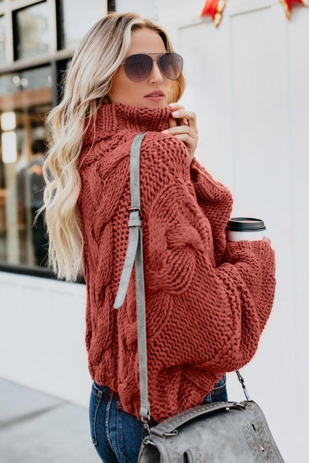 Red Cuddle Weather Cable Knit Handmade Turtleneck Sweater - girlyrose.com