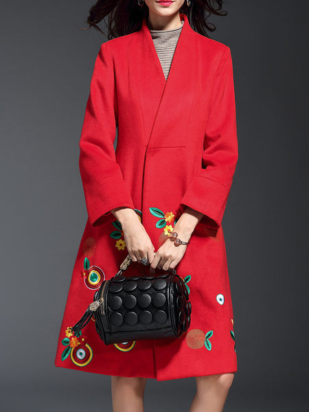 Red V Neck Flowers Embroidered Coat - girlyrose.com